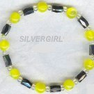 Magnetic Hematite Fiber Optic Yellow Bracelet