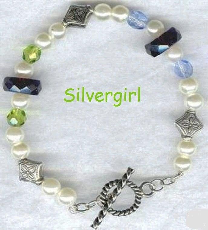 Imitation Pearl Glass Bali Look Silver Bracelet