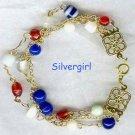 3 Strand Red White Blue Glass Bead Bracelet