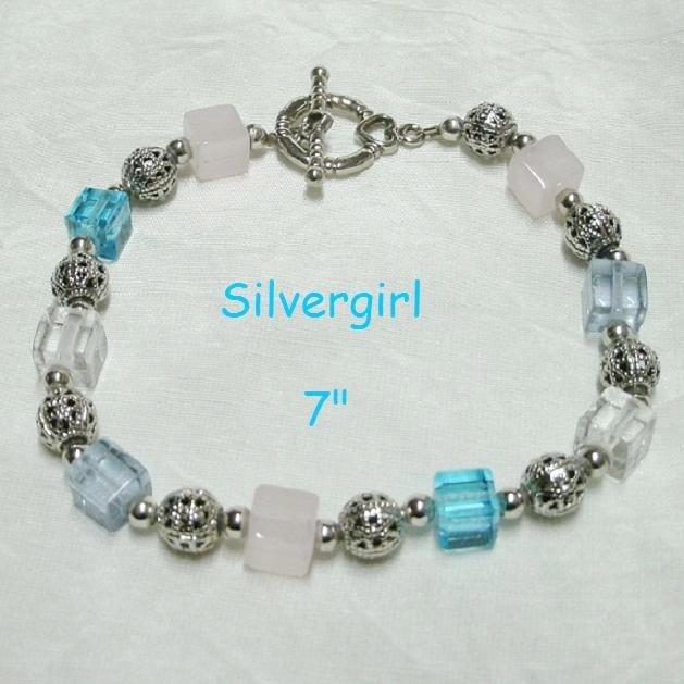 Lilac Blue Pink Cube Crystal Bracelet