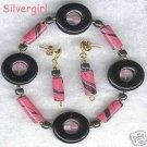 Blackstone Pink Swirled Polymer Bead Bracelet Set