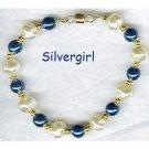 Vanilla Whirl Deep Blue Imitation Pearl Bead Bracelet