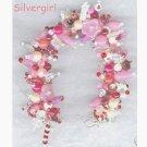 Loaded Fringe Charm Bracelet Pinks Reds Whites Crystal
