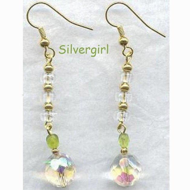 Sparkling Long 10mm Glass Clear Green Earrings