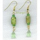 Green Marbled Lampwork Beaded Dangle Earrings