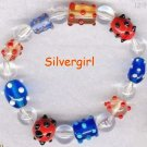 Red White and Blue Bumpy Lampwork Bead Bracelet
