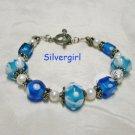 Ocean Blue Lampwork FW Bali Pearl Boutique Bracelet