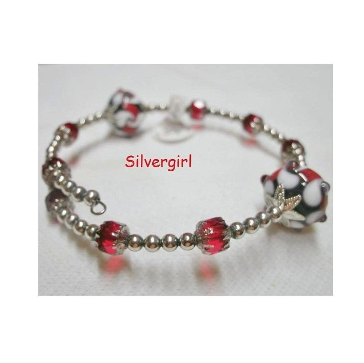 Large Red White Black Lampwork Bead Wrap Bracelet