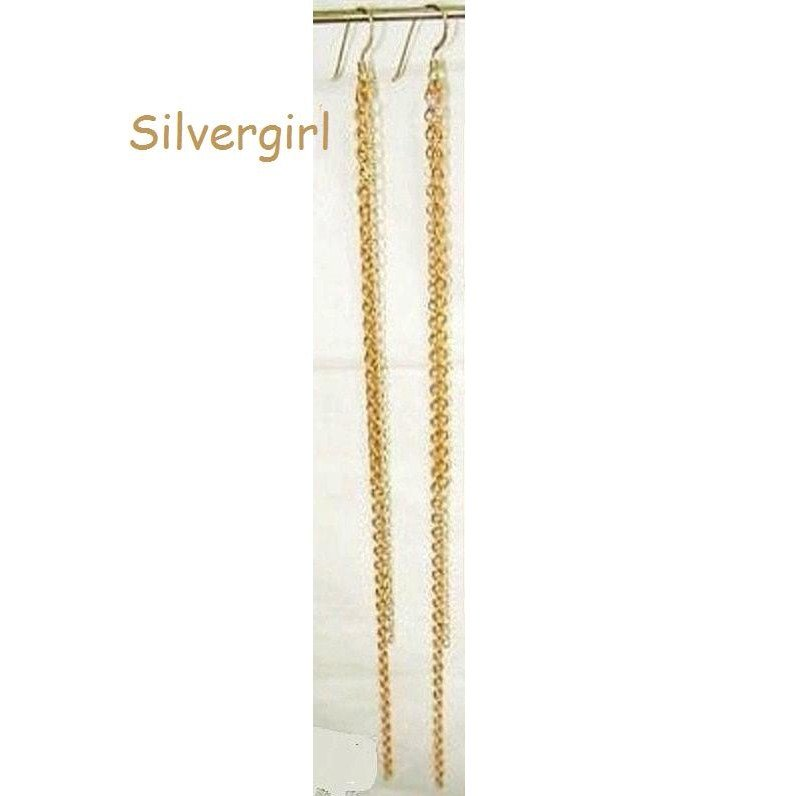 Long Dangle Brass and Silver Plate Chain Earrings