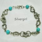 Antiqued Silver Plate Hearts Flowers Turquoise Bracelet