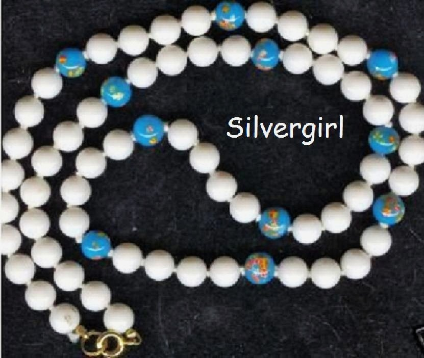 Bead Necklace with Hand Painted Blue Glass Beads