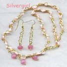 Pink Ribbon Pink Czech Beaded Earring Necklace Set