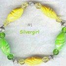Shiny Green Yellow Boutique Bead Bracelet