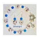 Aztec Bracelet & Earrings Blue White Jade Ceramic Ball Set