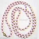 Vintage Long Lilac Gold Tone Plastic Beaded Necklace