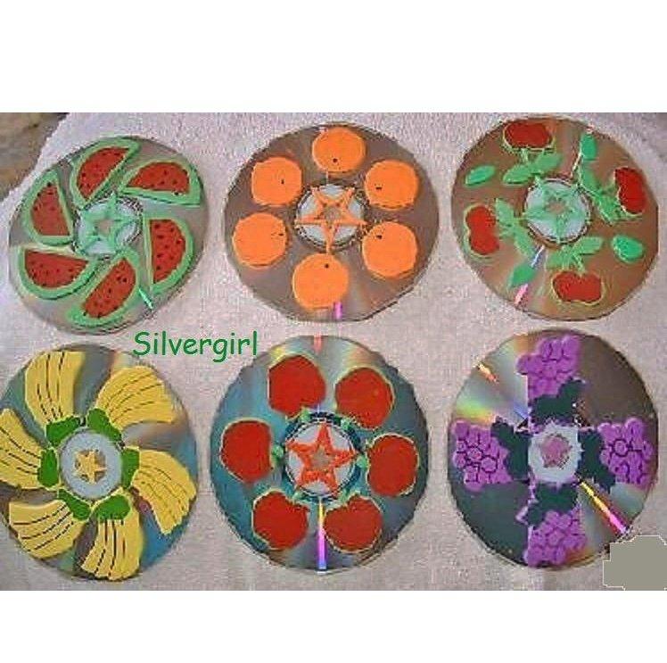 Fruits Handmade CD Disc Drink Coasters Set of 6