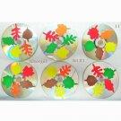 Handmade Autum Leaves CD Disc Drink Coasters Set of 6 #1
