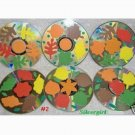 Autumn Leaves Drink CD Disc Coasters Set of 6 OOAK #2