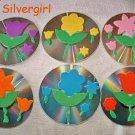 Drink CD Disc Coasters Set of 6 OOAK Flowers
