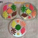 Handmade Drink CD Disc Coasters Set of 3 OOAK Fall Leaves #1