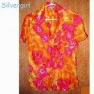 Vintage Ladies Soft Shiny Orange Pink Nylon Fitted Top