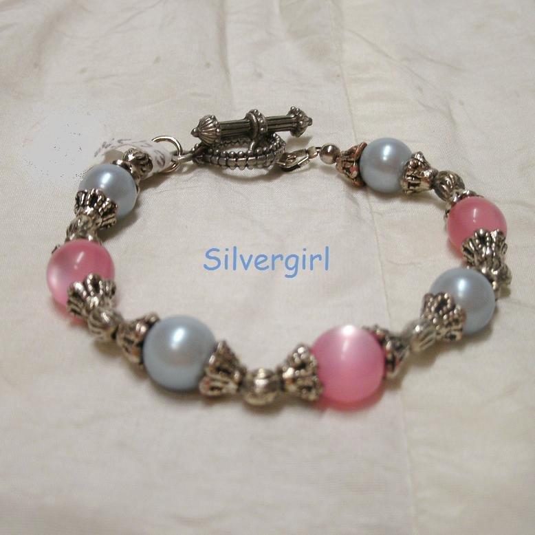 Pink Fiber Optic Purple Pearl Bracelet