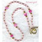 Pink Glass Acrylic Beaded Necklace