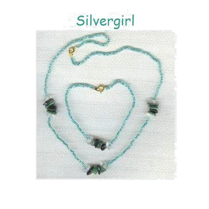 Teal Green Black Gemstone Necklace Set