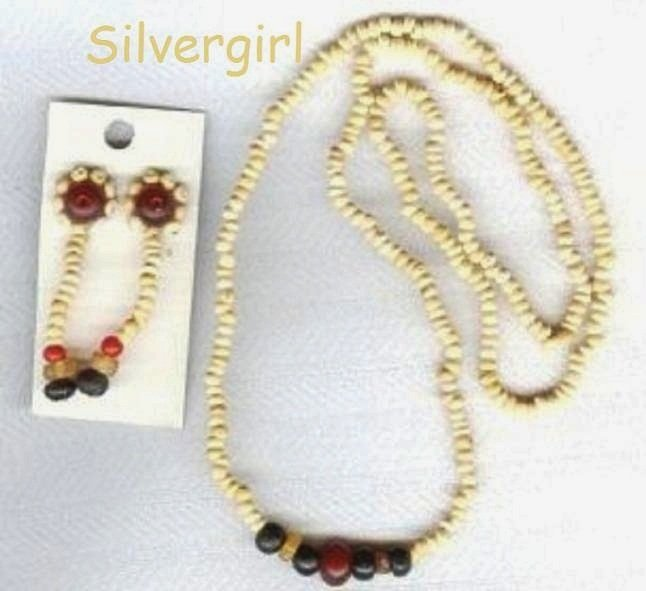 Cream Red Black Wooden Necklace Earring Set