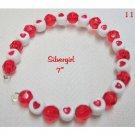 Red White Heart Plastic  Memory Wire Wrap Bracelet
