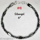 "8"" Black Magnetic Hematite Bracelet with SP Lobster Clasp"