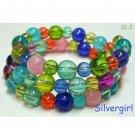 "19"" Glass Rainbow Colored Beaded Memory Wire Wrap Bracelet"
