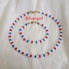 Red White Blue Glass Bead Choker Bracelet Set