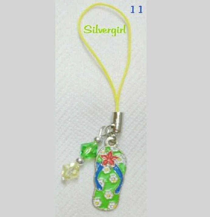 Multi Purpose Charm Multi Colored Flowers Metal Flip Flop Green Yellow Crystal