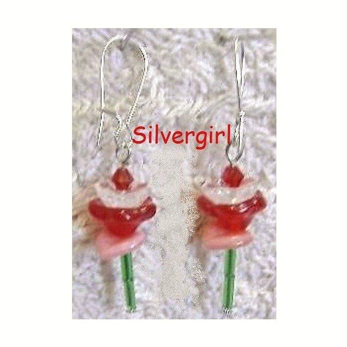 Single Stem Red Pink Glass Flower Earrings