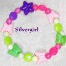 Girls Pink Green and Purple Butterfly Beaded Bracelet
