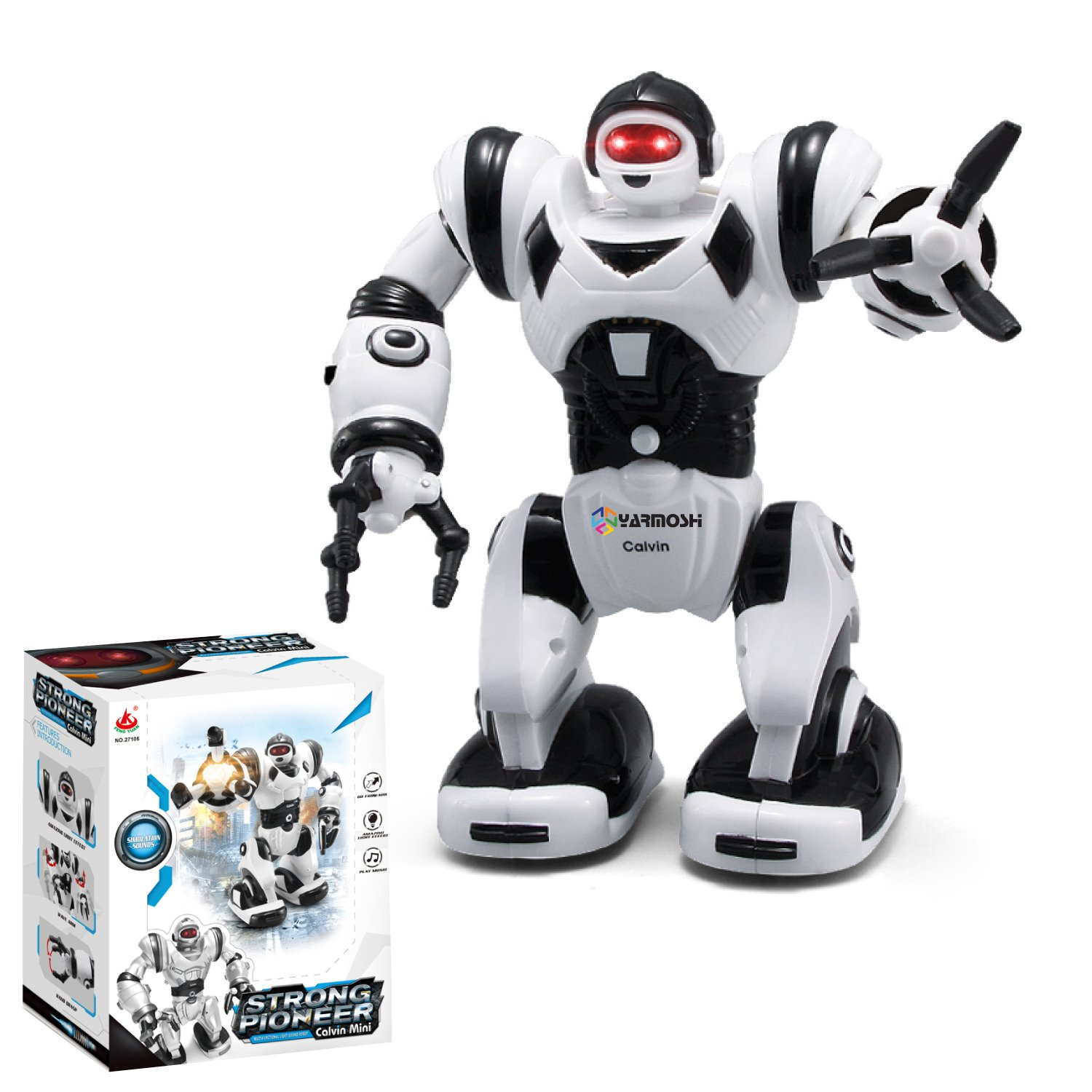 YARMOSHI Walking Robot Toy - Battery Operated, Flexible Moving Arms, Plays Music with Flashing Eyes.