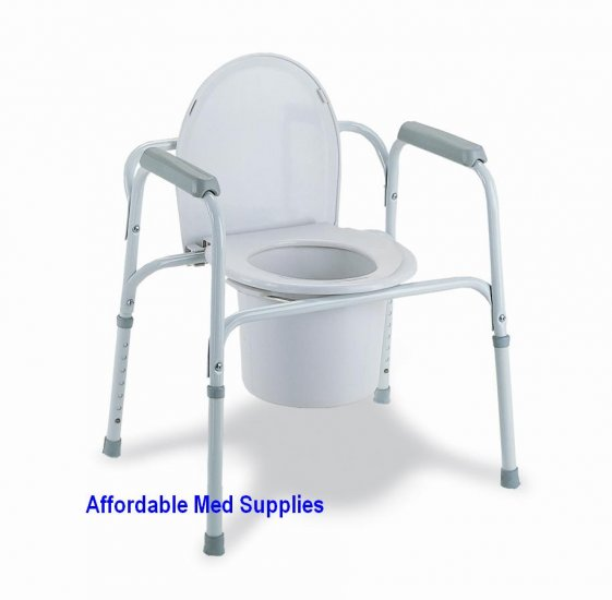 New Bedside Commode Toilet Seat Safety Rails All In One