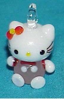 Hello Cute Kitty Pink Cat Glass Bead Pendant