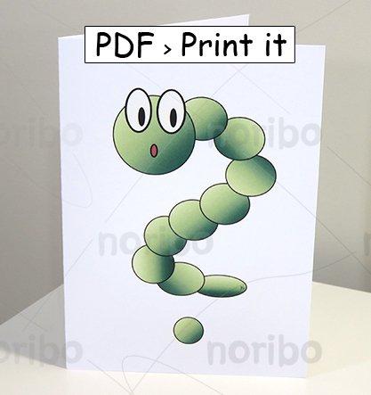 "Card - Green Worm Question Mark - printable 8.5x11"" PDF digital download - animals"