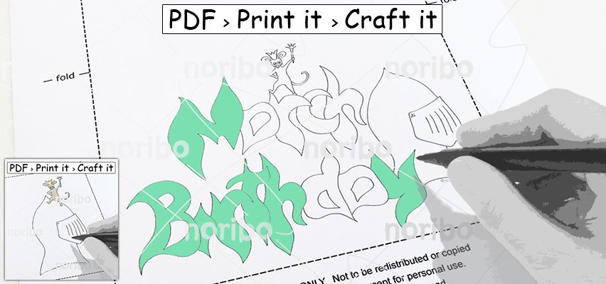 Card 2x - March Birthday Mouse King Crown Helmet - printable A4 PDF digital download colouring DIY