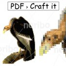 Cross Stitch Chart - Vulture 55x79 - printable A4 PDF digital download DIY bird pattern Audubon