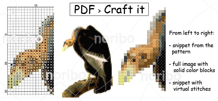 "Cross Stitch Chart - Vulture 55x79 - printable 8.5x11"" PDF digital download DIY bird embroidery"