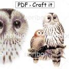 "Cross Stitch Chart - Ural Owl 110x151 - printable 8.5x11"" PDF digital download DIY bird embroidery"