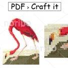 Cross Stitch Chart - Flamingo 50x63 - printable A4 PDF digital download DIY bird pattern Audubon