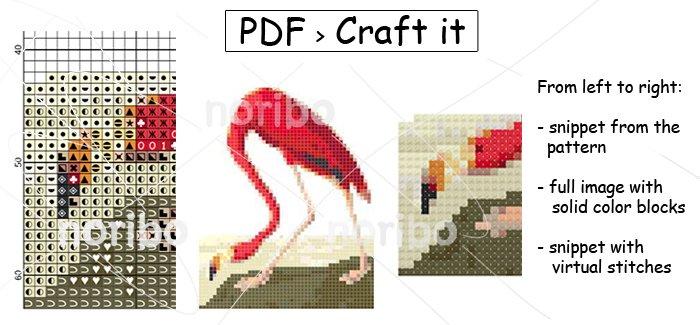 "Cross Stitch Chart - Flamingo 50x63 - printable 8.5x11"" PDF digital download DIY bird embroidery"