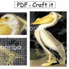 "Cross Stitch Chart - Pelican 75x113 - printable 8.5x11"" PDF digital download DIY water bird Audubon"