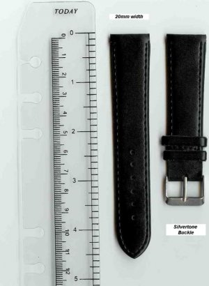 New 20mm Black Leather Watch Band W/ Silvertone Buckle w/Spring Bars
