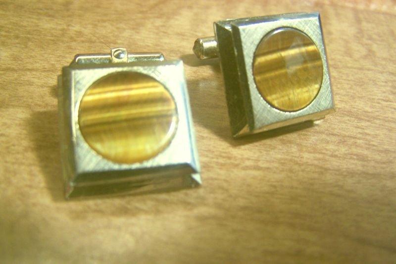 """Vintage Cufflinks """" DESTINO """"Tiger Eye / Goldtone Elegant Design"""