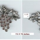 Pewter Grape Cluster Pin / Brooch by LIA